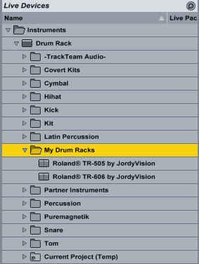 Ableton Live presets folder: JordyVision Drum Racks